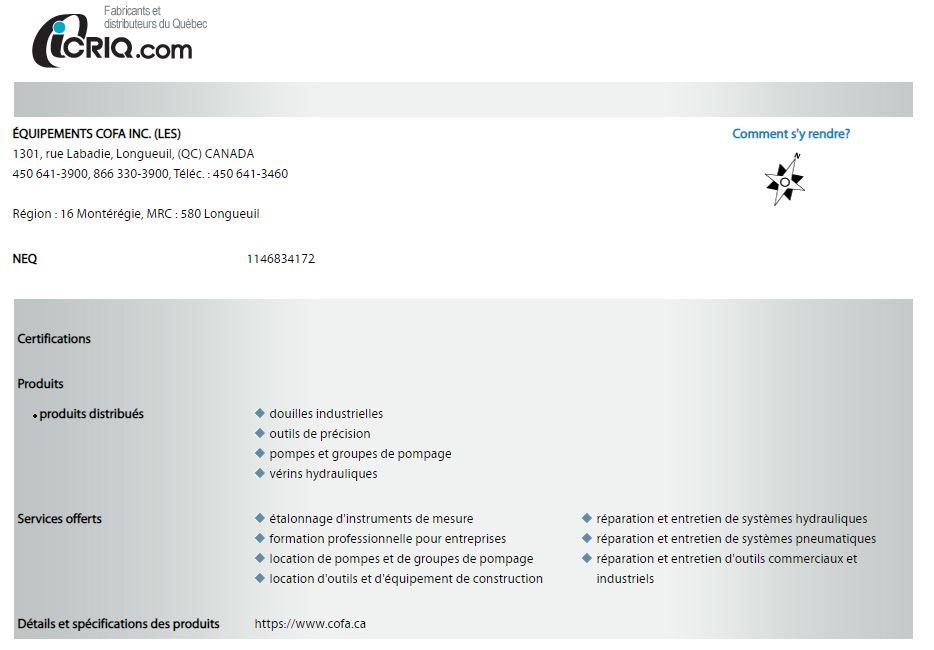 COFA : Fournisseur en Boulonnage Industriel Officiel sur ICRIQ